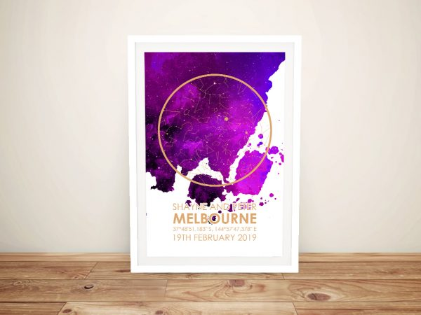 Personalised Watercolour Night Sky Star Map Art