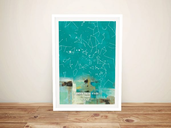 Framed Abstract Colourful Star Map Art