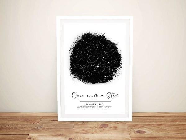 Framed Monochrome Star Map Home Decor AU