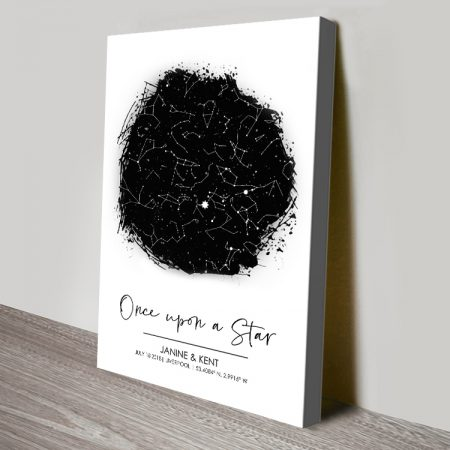 Black & White Custom Star Map Canvas Art