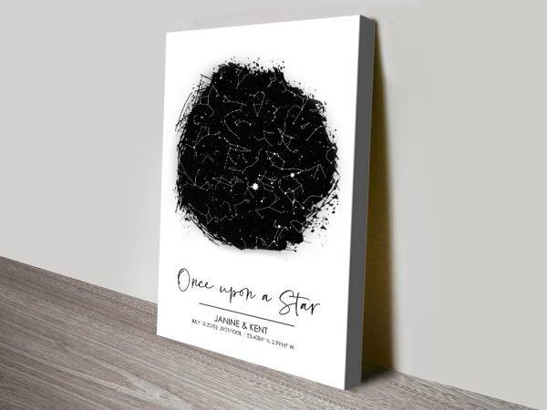 Black & White Custom Star Map Canvas Art