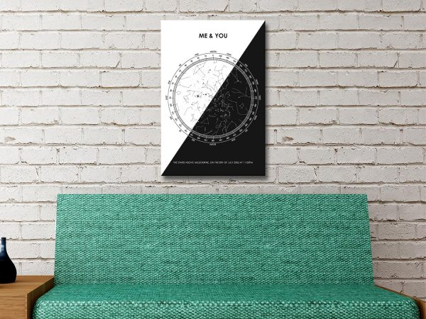 Star Chart in Black & White Quality Wall Art