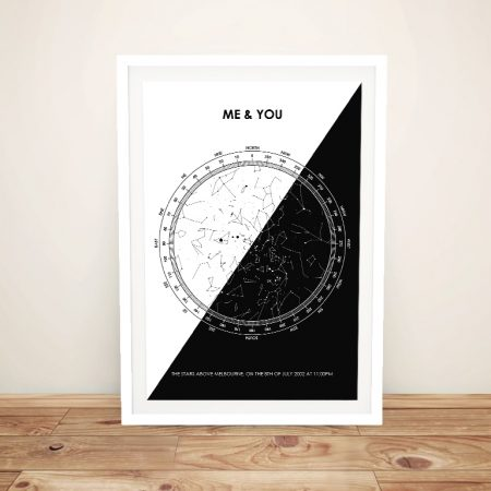 Framed Custom Star Map in Black & White