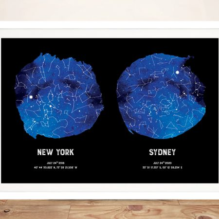Bespoke Dual Star Map Art in Blue & Black