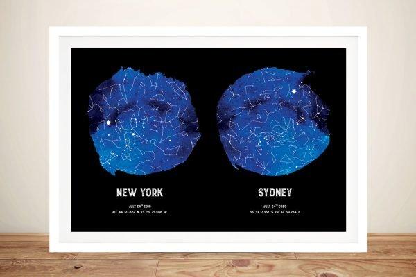 Bespoke Dual Star Map Art in Blue & Black