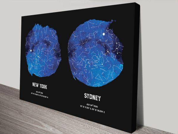 Stretched Canvas Custom Blue Star Map Art