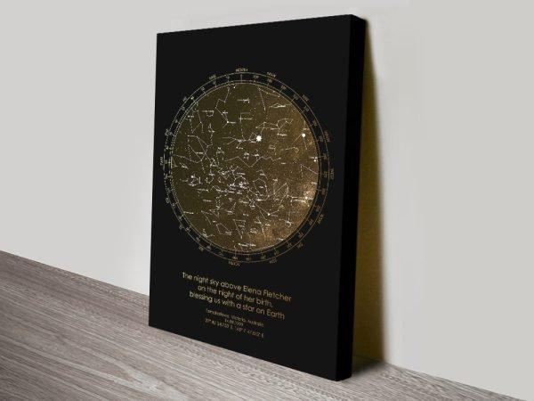 Buy Bronze Star Map Bespoke Canvas Artwork