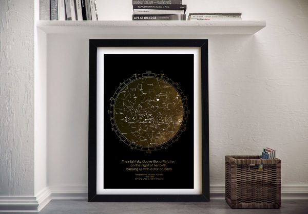 Framed Metallic Star Map Unique Gifts Online