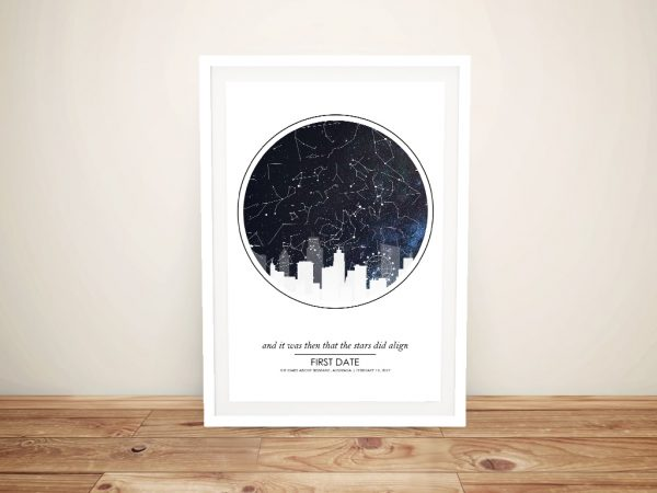 Framed City Skyline Star Chart Wall Art AU