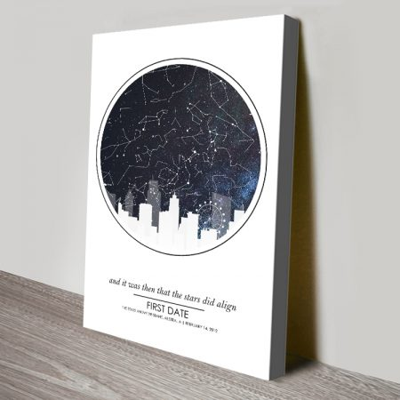 City Skyline Silhouette Star Map Canvas Art