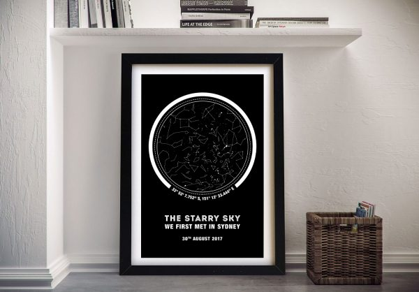 Monochrome Coordinates Star Map Canvas Print
