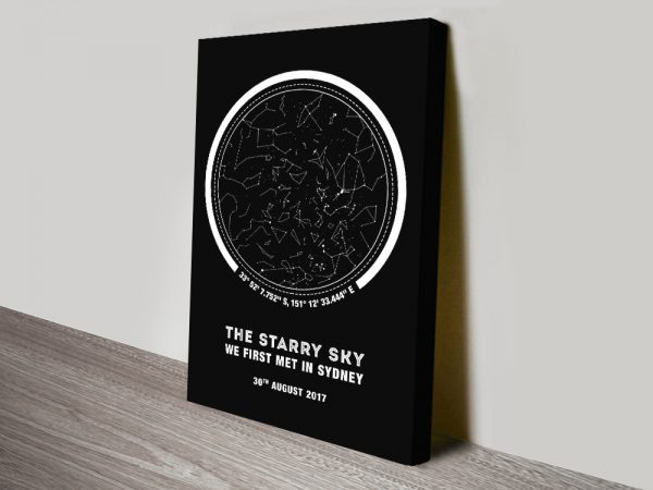 Coordinates Stretched Canvas Star Map AU