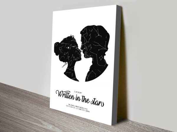 Silhouetted Couple Star Map Great Gift Ideas AU