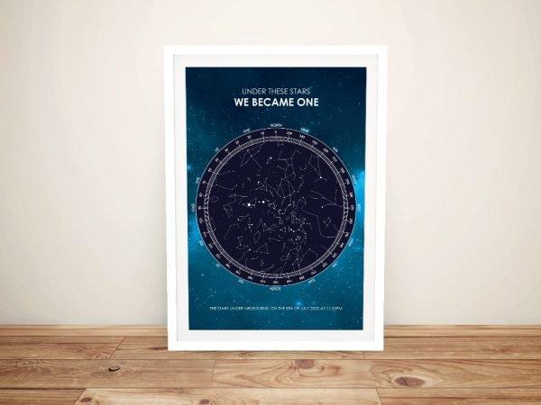 Framed Galaxy Design Star Map Unique Gifts AU
