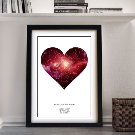 Framed Heart Personalised Star Chart