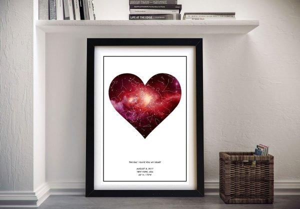 Framed Heart Personalised Star Chart