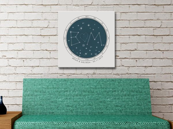 Ready to Hang Personalised Star Maps for Sale