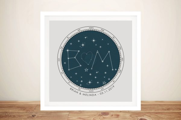 Framed Initials Star Map Affordable Gifts Online