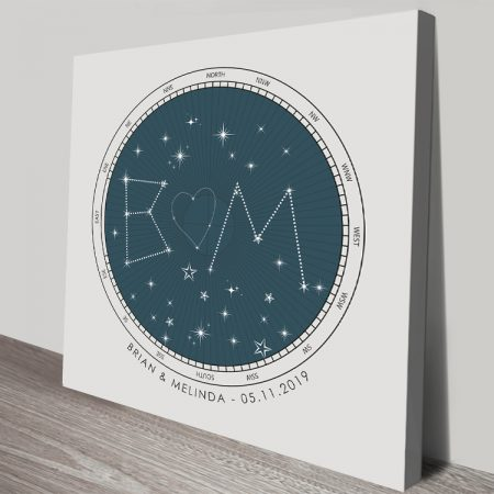 Initials Bespoke Star Map Art on Canvas