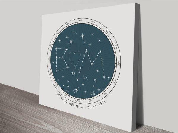 Initials Bespoke Star Map Art on Canvas