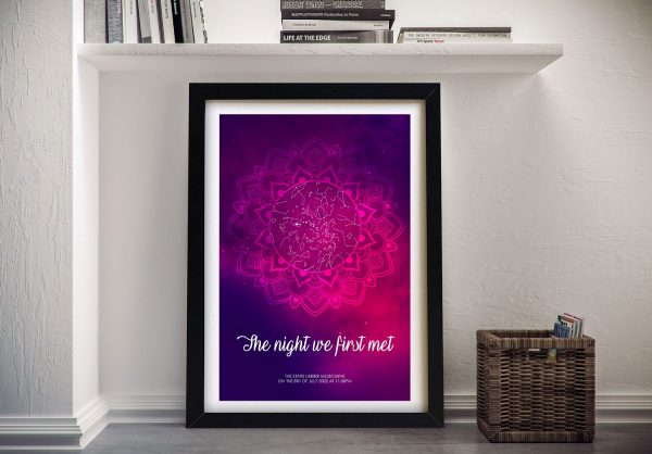 Mandala Design Framed Star Map Wall Art