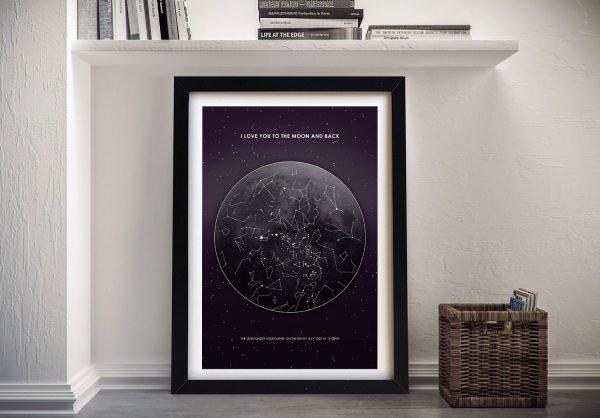 Framed Moon Star Chart Art Home Decor Ideas AU