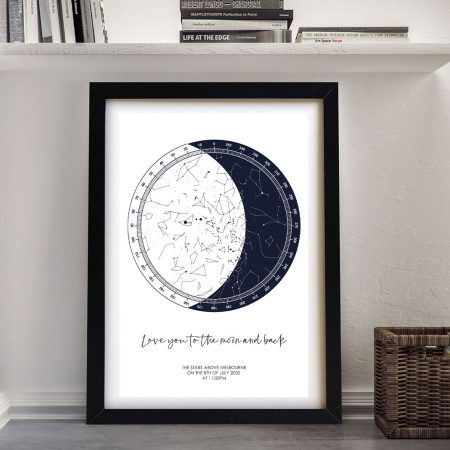 Buy a Bespoke Moon Star Map on Canvas