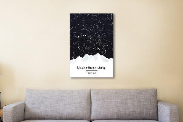 Mountain Star Map Quality Custom Art AU