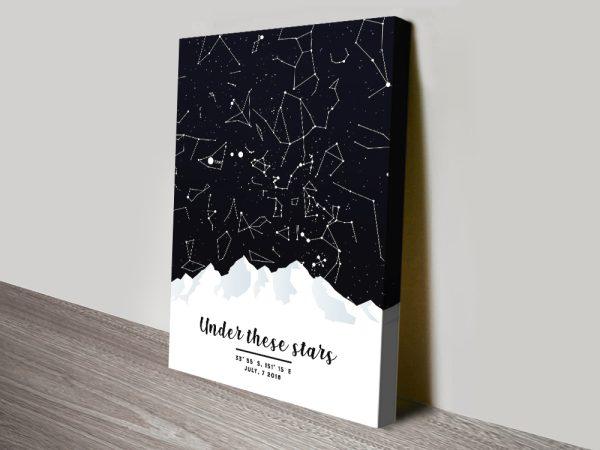 Magical Mountain Star Map Wall Art