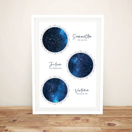 Blue & White Custom Multiple Star Map