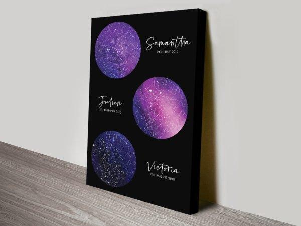 Multi-Star Map Bespoke Canvas Art in Purple