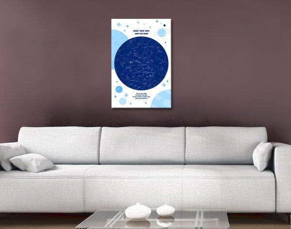 Ready to Hang Newborn Star Map Gift Ideas AU