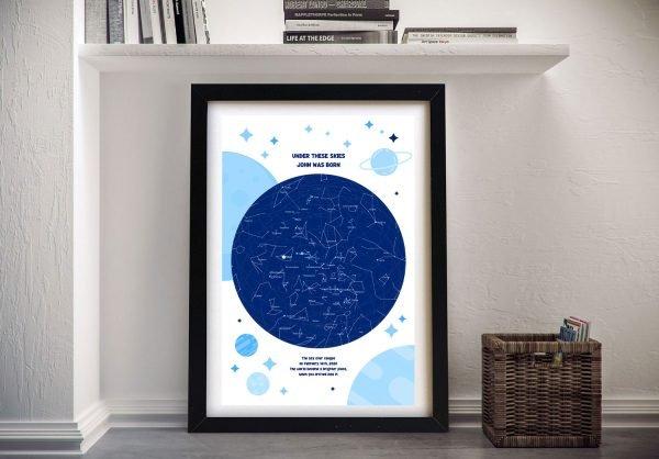 Custom Framed Canvas Star Map for a Baby Boy
