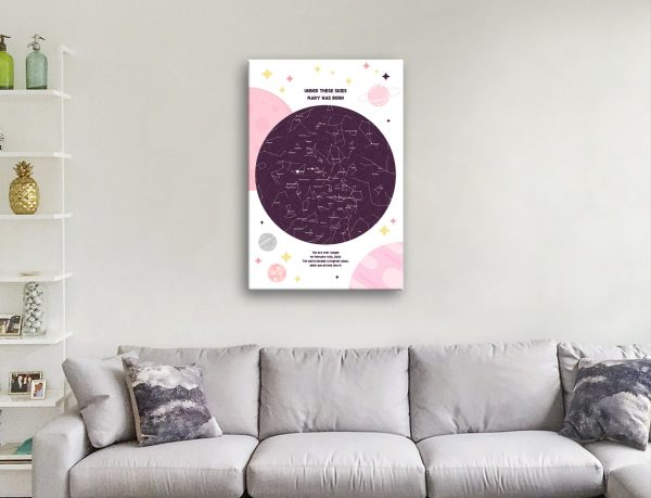 Ready to Hang Pink Star Map Art Unique Gifts AU