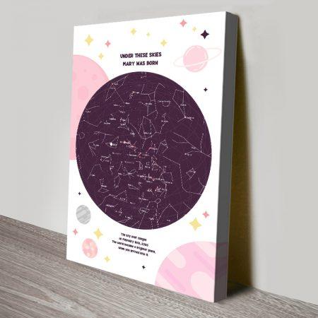Bespoke Pink Newborn Star Chart Canvas Print