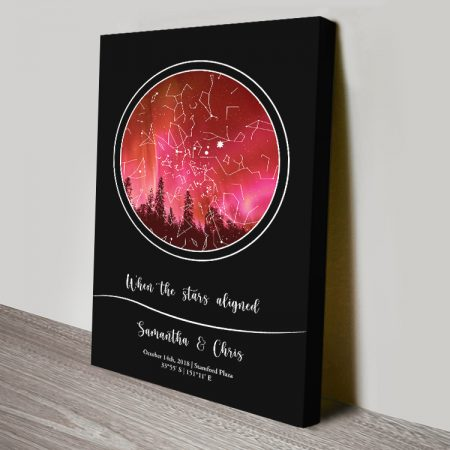 Night Sky Bespoke Star Map in Red