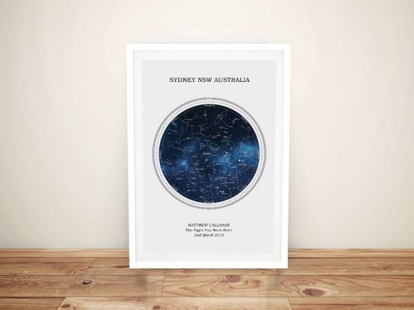 Framed Star Map for a New Born Baby