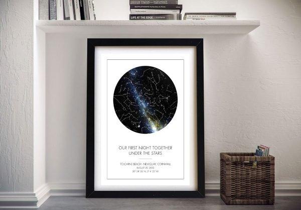 Framed Romantic Bespoke Star Map Artwork