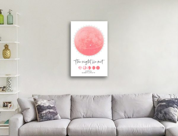 Moon Phases Custom Star Map Quality Canvas Art