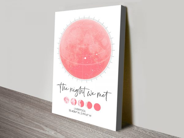 Affordable Moon Phases Personalised Star Map Art