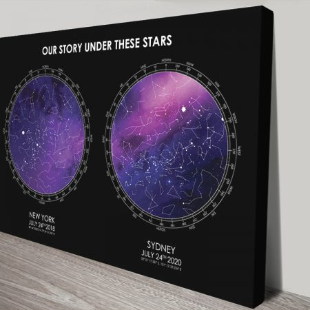Buy a Black & Purple Dual Star Map Print