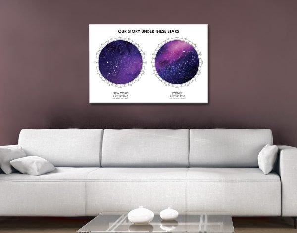 Ready to Hang Custom Dual Star Map Wall Art