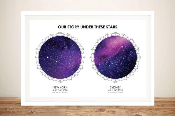 Dual Bespoke Star Map in Purple & White