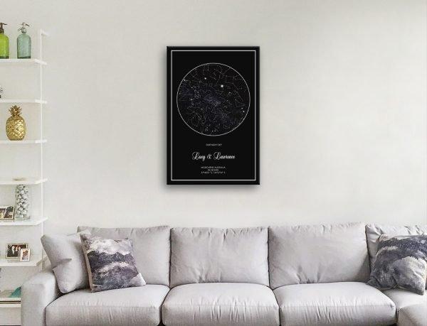 Silver Star Map Art Wedding Gift Ideas AU