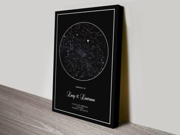 Silver & Black Star Map Print on Canvas