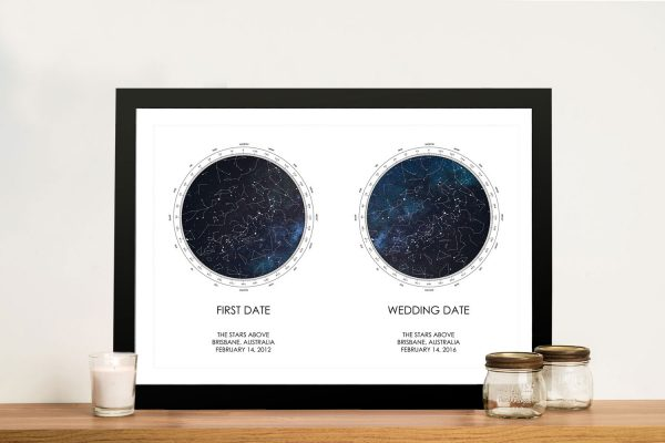 Framed Dual Stars Personalised Star Chart