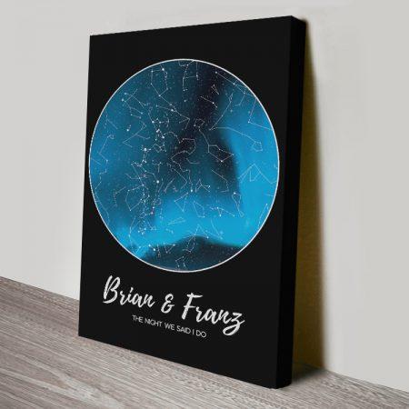 Aurora Borealis Bespoke Star Map Print on Canvas