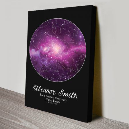 Purple Cosmos Custom Star Map Art on Canvas