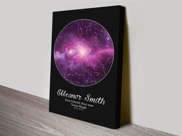 Purple Cosmos Custom Star Map Art on Canvas