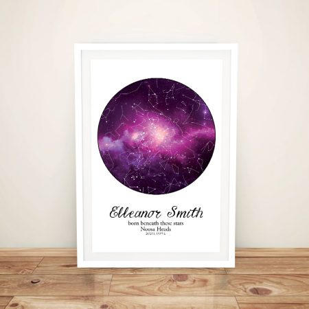 Purple & White Cosmos Custom Star Map
